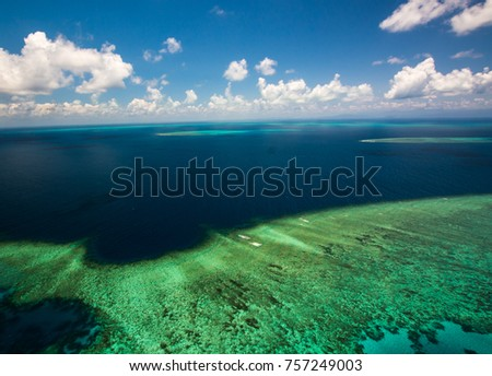 Aerial view of Moore Reef on the outer Great Barrier Reef