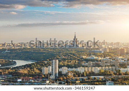 Aerial view of Moscow city with the Lomonosov State University of Moscow and the Moskva river #346159247