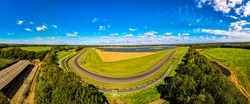 Aerial view of moto racing in english countryside, UK
