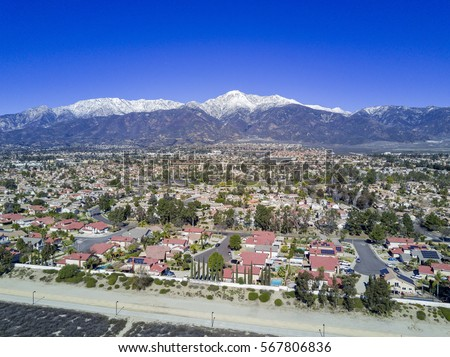 Aerial view of Mount Baldy and Rancho Cucamonga area Сток-фото ©