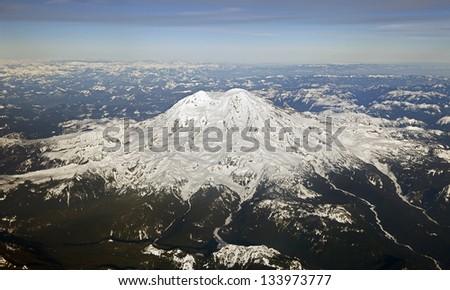 Aerial View of Mount Rainier, Washington, USA
