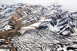 Aerial view of Mountain National Park Landmannalaugavegor