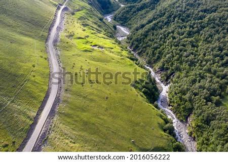 Aerial view of mountain road and Balkarsky Cherek rive. Kabardino-Balkaria, Caucasus, Russia. Photo stock ©