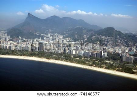 Aerial view of mountains and sea in Rio de Janeiro