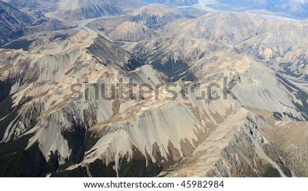 Aerial view of mountains ,new zealand