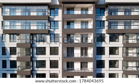 Aerial view of multi-storey apartment building. the flats are completed and ready for sale. Сток-фото ©