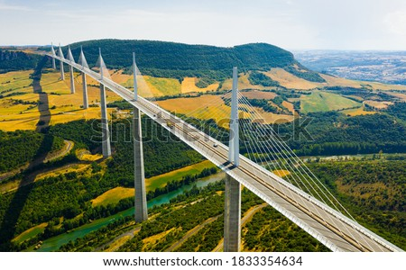 Aerial view of multispan cable stayed Millau Viaduct across gorge valley of Tarn River in Southern France in summer Photo stock ©