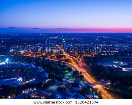 Aerial View of Munich at Night, Munich, Bavaria, Germany. Color temperature : Color temperature : 4000K(For shooting under a fl uorescent light) #1528421594
