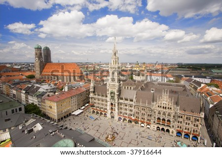 Aerial view of Munich city center