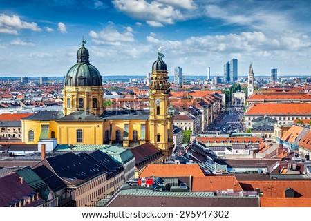 Aerial view of Munich over Theatine Church of St. Cajetan (Theatinerkirche St. Kajetan) and Odeonplatz, Munich, Bavaria, Germany in day time