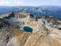 Aerial view of Musala peak, Rila mountain, Bulgaria