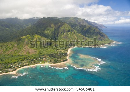 aerial view of Na Pali coast in Kauai Hawaii