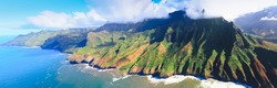 Aerial view of Na Pali coast in Kauai, Hawaii USA