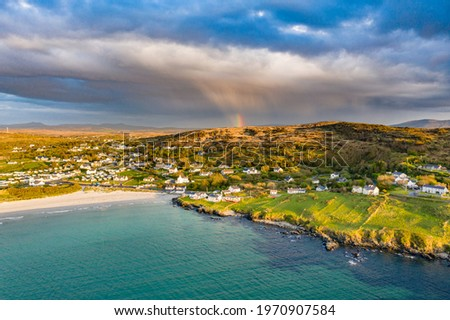 Aerial view of Narin Strand by Portnoo in County Donegal - Ireland Stok fotoğraf ©