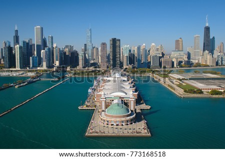 Aerial view of Navy Pier and the Chicago, Illinois skyline (taken from a helicopter over Lake Michigan). (2879)