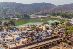 Aerial view of Nawal Sagar lake in Bundi, Rajasthan state, India