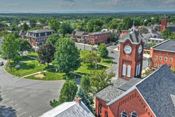 Aerial view of New Oxford a small rural town in Adams County Pennsylvania along the Lincoln Highway
