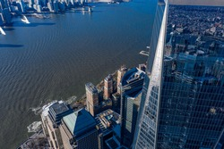 Aerial view of New York city and one world trade center brookfield place at day time