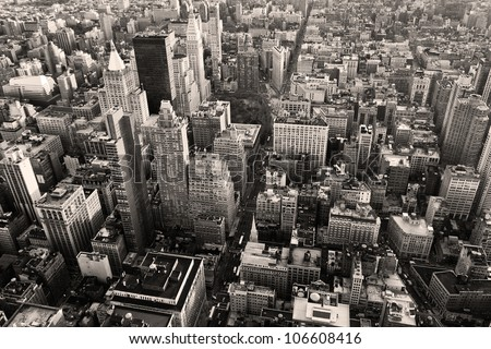 Aerial view of New York city in a black and white shot.