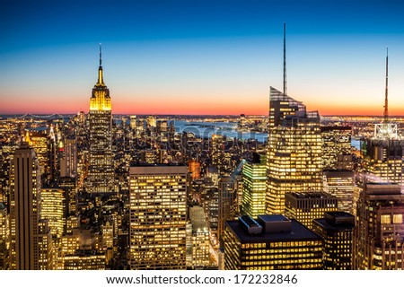 Aerial view of New York city in the USA stock photo