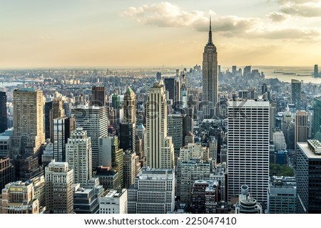 Aerial view of New York city in the USA at sunset. #225047410