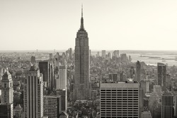 Aerial view of New York city in the USA in sepia tone.