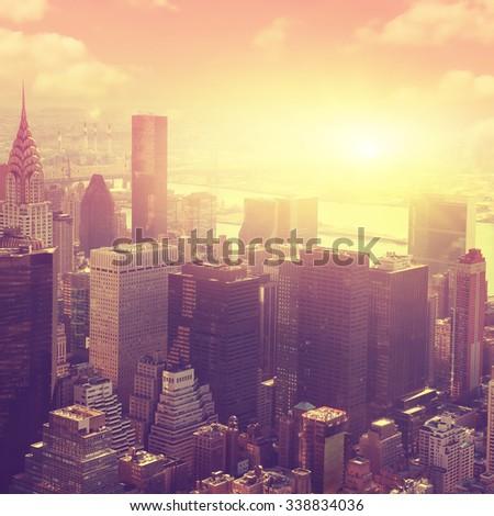 Aerial view of New York City Manhattan  at sunrise.