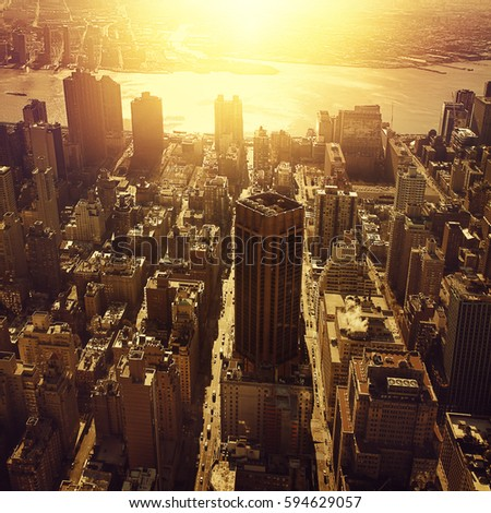 Aerial view of New York City Manhattan at sunset. #594629057