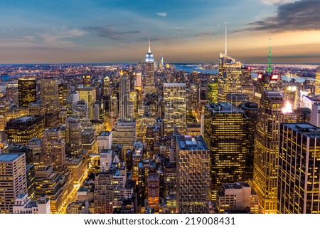 aerial view of New York City midtown Skyline at sunset #219008431