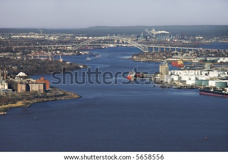 Aerial view of New York City's Bayonne Bridge and harbor.