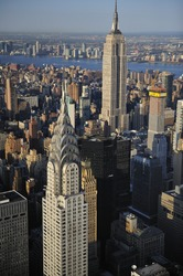 Aerial view of New York City skyline and Empire State building, Chrysler Building