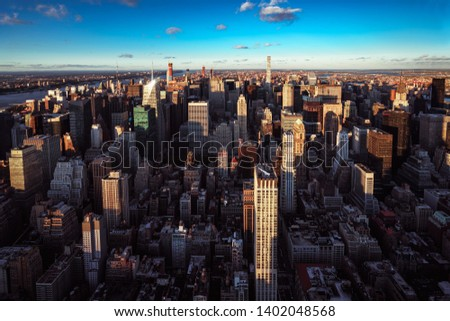 Aerial view of New York City skyline during sunset, NYC USA