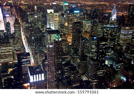 Aerial view of New York Manhattan by night #559791061