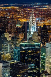 Aerial view of New York skyscrapers at night
