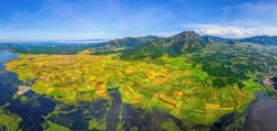 Aerial view of Ngo Son rice field, Gia Lai, Vietnam. Royalty high-quality free stock Panorama image landscape of terrace rice fields in Vietnam