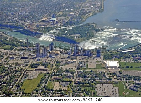 aerial view of  Niagara Falls Ontario, Falls in the background