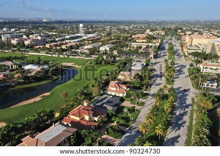 aerial view of nice south florida suburban community along highway us 1 looking westward