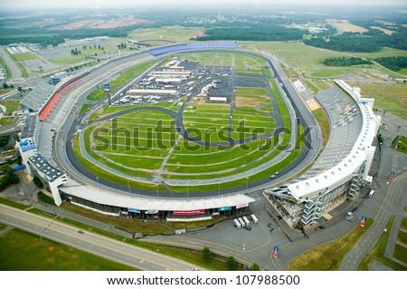 Aerial view of North Carolina Speedway in Charlotte, North Carolina