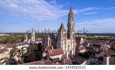 Aerial view of Notre Dame de Senlis Cathedral, OIse, France Zdjęcia stock ©