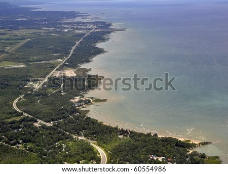 aerial view of Nottawasaga Bay at the southern point of Georgian Bay, Ontario Canada