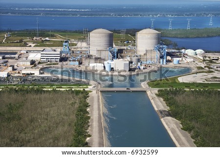 Aerial view of nuclear power plant on Hutchinson Island, Flordia.