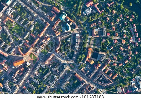 aerial view of  nysa city in...