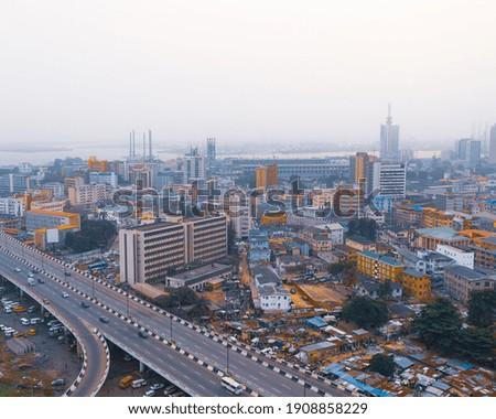 Aerial view of Obalende, Lagos, Nigeria Foto stock ©