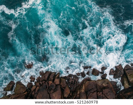 Aerial view of ocean waves and fantastic Rocky coast  #521260978