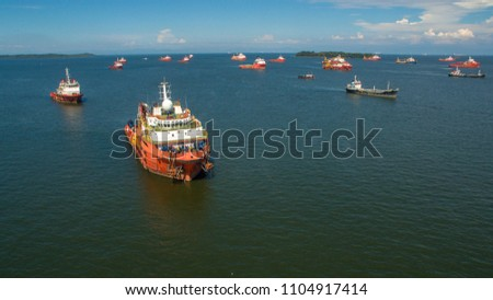 Aerial view of offshore support vessels in Labuan island,Malaysia,ready to the offshore oil production fields. #1104917414