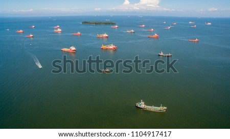 Aerial view of offshore support vessels in Labuan island,Malaysia,ready to the offshore oil production fields. #1104917417