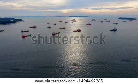 Aerial view of offshore support vessels in Labuan Pearl of Borneo,Malaysia. #1494469265