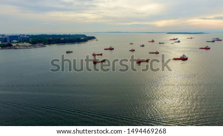 Aerial view of offshore support vessels in Labuan Pearl of Borneo,Malaysia. #1494469268