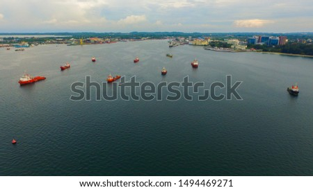 Aerial view of offshore support vessels in Labuan Pearl of Borneo,Malaysia. #1494469271