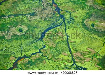 Aerial View of Okavango Delta River